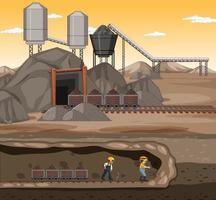 paesaggio della scena di estrazione del carbone al tramonto vettore