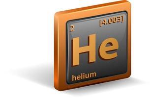 elemento chimico dell'elio. simbolo chimico con numero atomico e massa atomica. vettore