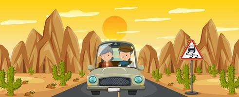 coppia di pensionati guida durante il viaggio nel deserto vettore