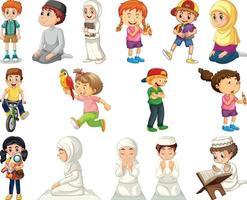 bambini che fanno diverse attività set di personaggi dei cartoni animati vettore
