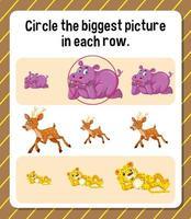 cerchia l'immagine più grande in ogni foglio di lavoro di riga per i bambini vettore