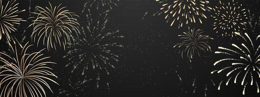 fuochi d'artificio e festa di celebrazione a tema natalizio felice anno nuovo sfondo oro design vettore