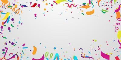 coriandoli e nastri colorati. modello di sfondo celebrazione vettore