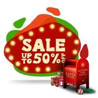 saldi natalizi, sconti fino a 50, moderno striscione rosso sconto in stile lampada lava con lampadine e cassetta delle lettere di Babbo Natale vettore