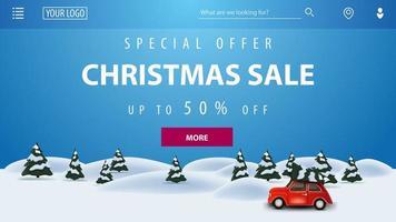 offerta speciale, saldi natalizi, fino a 50 di sconto, striscione blu con paesaggio invernale dei cartoni animati e auto d'epoca rossa con albero di natale vettore