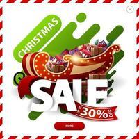 saldi natalizi, fino a 30, sconto rosso e verde pop-up con forme liquide astratte grandi lettere volumetriche, nastro, bottone e regalo con orsacchiotto vettore