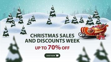 saldi natalizi e settimana di sconti, fino a 70 di sconto, banner sconto moderno con pini, cumuli, nevicate e slitta di Babbo Natale con regali vettore