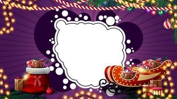 modello di natale viola per cartolina o sconto con ghirlande, nuvola astratta bianca per il tuo testo, borsa di Babbo Natale e slitta di Babbo Natale con regali vettore