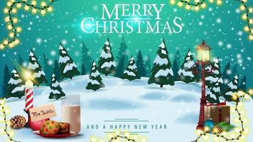 buon natale, cartolina con paesaggio invernale, cielo blu, nevicate, lanterna a palo e biscotti con un bicchiere di latte per babbo natale vettore