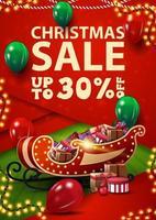 saldi natalizi, fino a 30 di sconto, banner di sconto verticale rosso e verde in stile material design con palloncini e slitta di Babbo Natale con regali vettore