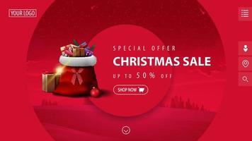 offerta speciale, saldi natalizi, sconti fino a 50, bellissimo striscione rosa sconto moderno con grandi cerchi decorativi, paesaggio invernale sullo sfondo e borsa di babbo natale con regali vettore