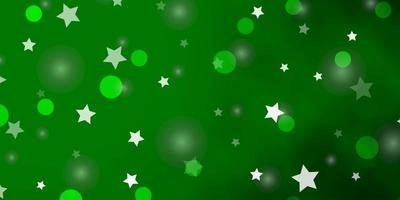 sfondo vettoriale verde chiaro con cerchi, stelle.