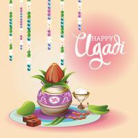 Illustrazione di Ugadi felice. vettore
