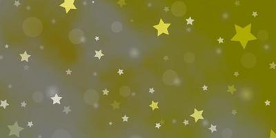layout vettoriale verde chiaro, giallo con cerchi, stelle.