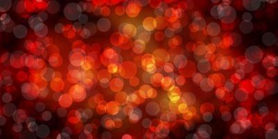 sfondo vettoriale arancione scuro con cerchi.