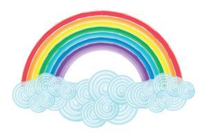 Acquerello arcobaleno e nuvole vettore