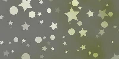 trama vettoriale verde chiaro con cerchi, stelle.