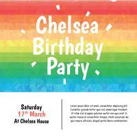 Vettore di compleanno acquerello arcobaleno