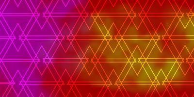 sfondo vettoriale rosa chiaro, giallo con linee, triangoli.