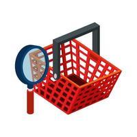 carrello dello shopping con icona isolata lente di ingrandimento vettore