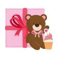 simpatico orsacchiotto con confezione regalo e cupcake vettore