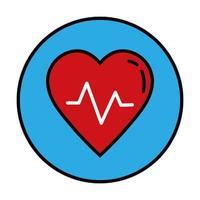linea di cardiologia del cuore e icona di stile di riempimento