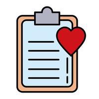 cardiologia del cuore con linea di elenco di controllo e icona dello stile di riempimento