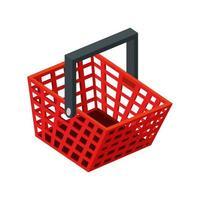 icona isolata della maniglia dello shopping del cestino vettore