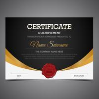 Certificato nero e oro vettore