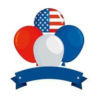 palloncini elio galleggianti con bandiera degli Stati Uniti d'America vettore