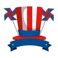cappello a cilindro con bandiera degli Stati Uniti d'America e giocattolo a vento vettore