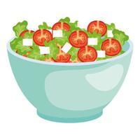 ciotola in ceramica con insalata di verdure vettore