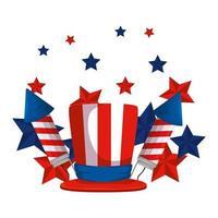 fuochi d'artificio razzi con tophat bandiera degli Stati Uniti vettore
