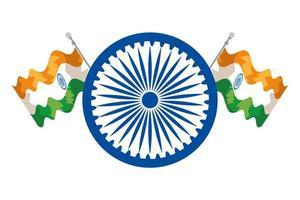 Ashoka chakra indiano con bandiere vettore