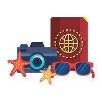 occhiali da sole estivi e passaporto con fotocamera vettore