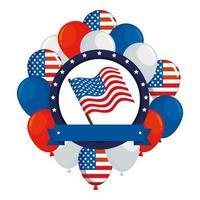 telaio con palloncini elio e bandiera usa vettore