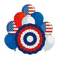bandiera circolare degli Stati Uniti d'America e palloncini elio vettore
