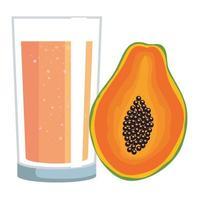 frutta succo di papaia con vetro vettore