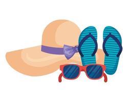occhiali da sole estivi con sandali e cappello femminile vettore