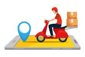 lavoratore del servizio di consegna in moto con smartphone vettore