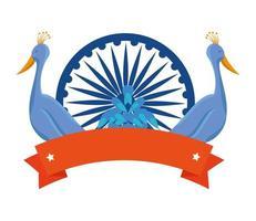 Ashoka chakra indiano con uccelli pavoni vettore