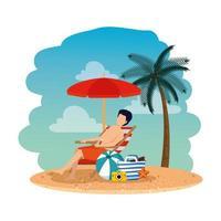 giovane uomo con borsetta seduto su una sedia sulla spiaggia vettore