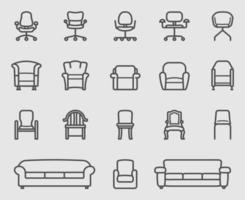 set di icone di linea sedia e divano vettore