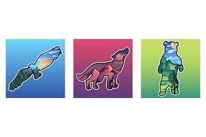 set di illustrazioni vettoriali di animali selvatici