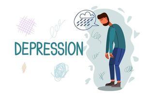 modello di vettore di banner disegnato a mano di depressione