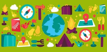 set di illustrazioni disegnate a mano di turismo e viaggi vettore