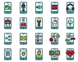 set di icone vettoriali di applicazioni mobili, porcile pieno