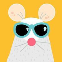 illustrazione di vettore del personaggio dei cartoni animati del mouse divertente
