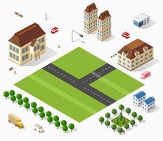 città isometrica set 3d vettore