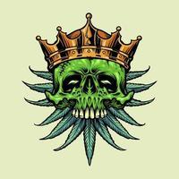 teschio di corona d'oro con foglie di cannabis vettore